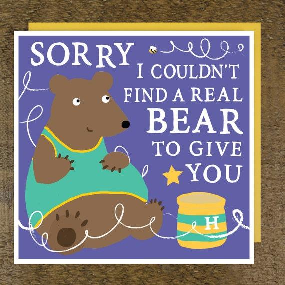 Bear Birthday Card Funny Birthday Card Birthday Card For