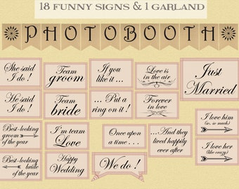 Printable wedding photobooth props - retro wedding instant download photo booth props garland & sign - DIY wedding photobooth printables
