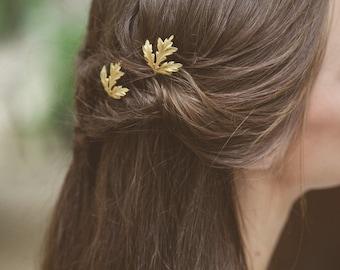 Gold Thistle Leaf Bobby Pins Leaf Hair Pins Leaf Hair Clips Bridal Hair Pin Bridal Hair Clip Woodland Wedding Bridal Accessories Autumn Fall