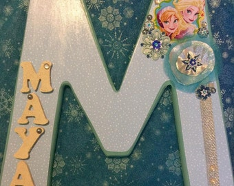 Frozen Anna and Elsa Nursery wall art nursery name letter vintage name initial vintage nursery