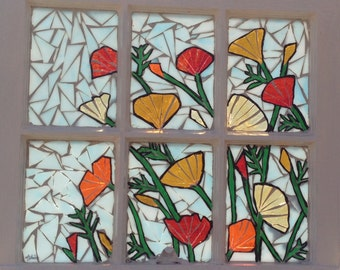 Stained Glass Poppy Mosaic Window - Poppy Stained Glass Panel - California Poppies Mosaic Panel Repurposed Window  - California poppy glass