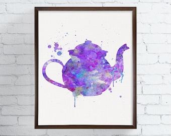 Watercolor Teapot - Teapot Print - Teapot Painting - Kitchen Art - Kitchen Decor - Kitchen Painting, Kitchen Print, Modern Home Decor,  Art