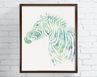 Zebra Art, Zebra Print, Watercolor Zebra, Zebra Painting, Kids Room Decor, Nursery Wall Decor, Childrens Room Decor, Safari Animals, Framed