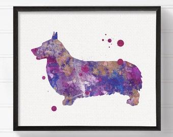 Corgi Art Print, Corgi Painting, Corgi Poster, Watercolor Corgi, Purple Corgi, Watercolor Dog Painting, Dog Poster, Dog Illustration
