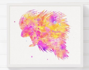 Pink Porcupine Art Print - Porcupine Watercolor Painting - Porcupine Poster - Baby Girl Nursery - Girls Room Decor - Woodland Nursery Decor