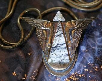 Early Ermani Bulatti Nouveau/Deco Crane Necklace