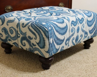 Tufted Upholstered Ottoman, Your Fabric, 28x22