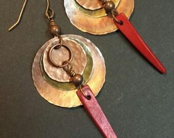 Mixed Metal Earrings, Hammered Metal Earrings, Metal Dangle Earrings, Copper Earrings, Boho Earrings, Hippie Earrings