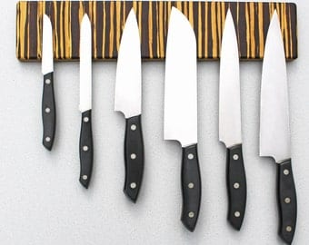 Magnetic Knife Holder, Blade-Saving, Eco-Friendly, Wall Mount in Tiger Stripe