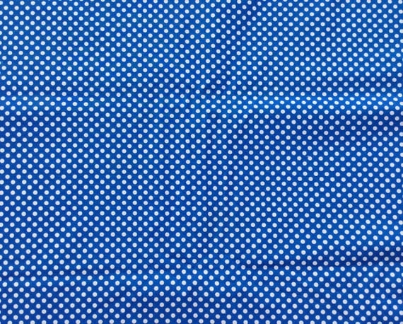 White dots on blue fabric cotton fabric by the yard for Children s clothing fabric by the yard