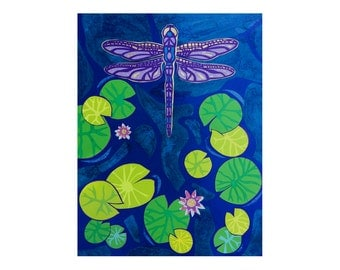 Dragonfly Collage and Papercut Print - Wall Art