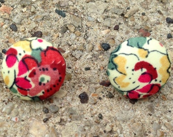 Fabric covered button earrings in floral print green yellow red pink