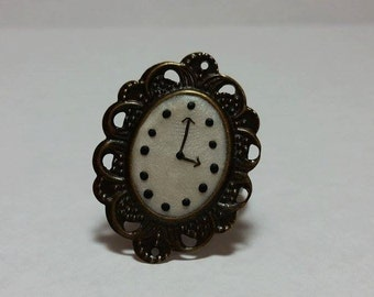 Handmade Polymer Clay Clock Ring