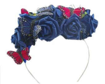 Blue Fascinator Hat, Fascinator Hat, Butterfly Fascinator Hat, Bridal Fascinator Hat, Wedding Fascinator Hat, Floral Fascinator Hat