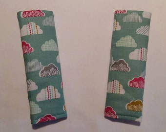Stroller strap pads buggy pram strap covers clouds pink reversible