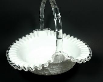 Fenton Fluted Silvercrest Spanish Lace Milk Glass 1960s