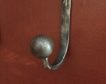 Coat/Hat Hook,wrought iron hook,iron hook,blacksmith,metal hook,handmade,wall hook
