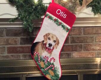 Beagle Dog Needlepoint personalized Christmas Stockings, Christmas stocking, dog stocking, beagle stocking, Christmas stockings