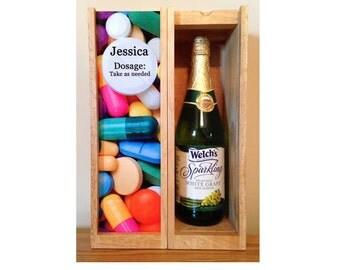 Personalized Wine Box, NURSE WEEK, Rn, LPN, Nurse Grad, Doctor, Custom Wine Box, Add a Name, Photo Wine Box, Liquor Box, Birthday, Any day