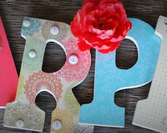 Aqua Blue, Green, Coral and Pasley Custom Wooden Letters, Nursery Name Decor, Hanging Wood Wall Dec