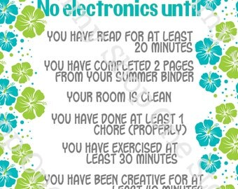 Summer Electronics / Screen-time Rules Printable