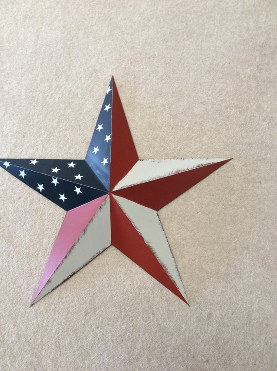 Large Star Wall Hanging Painted American Flag By