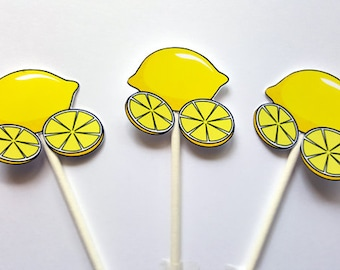 Lemon Cupcake Toppers -Lemonade Cupcake Toppers - Lemonade Birthday Party