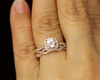 Kylie B & Hailey Set - Morganite and Diamond Halo Engagement Ring and Diamond Wedding Band in Rose Gold, Free Shipping