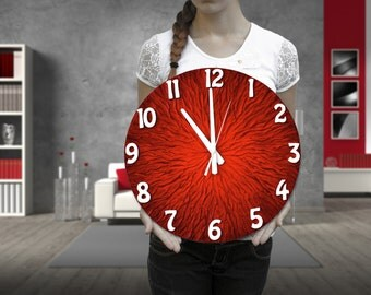 Original Painting Large WALL CLOCK, Unique clock, Modern wall clock, red clock