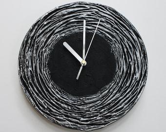 Black Clock, Black WALL CLOCK Black home decor minimalist  black and silver wall clock