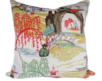 Asian Neo Toile Decorative Pillow Cover - Robert Allen - Both Sides - 12x16, 12x20, 14x24, 16x16, 18x18, 20x20, 22x22, 24x24