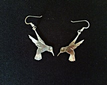 hummingbird earrings, hummingbird jewelry, sterling silver hummingbird, Vancouver Island, made in Canada, pacific northwest, BC artist
