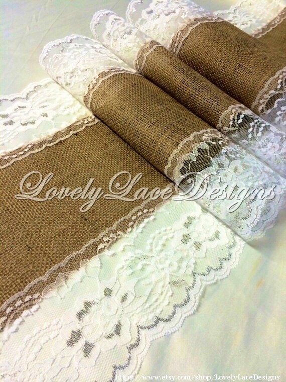 Items similar to 12ft 20ft burlap runner white silver for 12 ft table runner