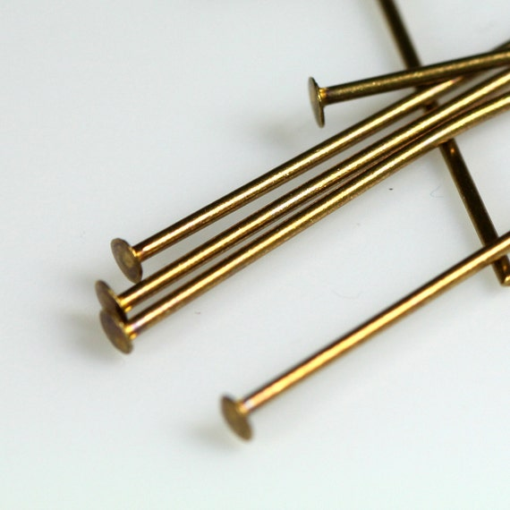 """Brass head pin 150 pcs 50 mm 2"""" 23 gauge( 0,6 mm ) antique brass headpin HA5023-20"""