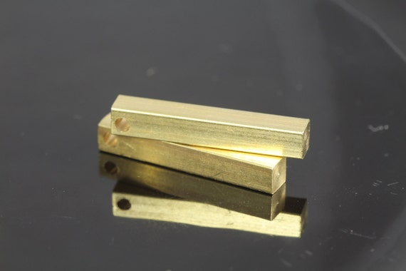 """square stamping bar 10 pcs 4 x 25 mm 0,16"""" x 1""""  raw brass  finding square rod industrial design (2 mm 5/64"""" 12 gauge hole ) sbl425-1098"""