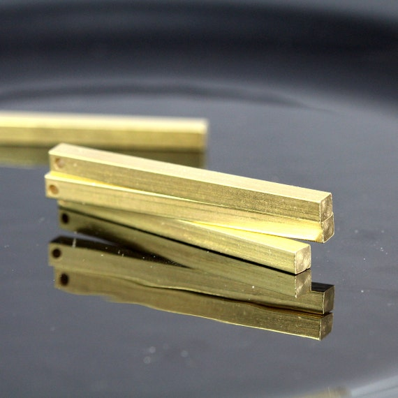 """square stamping bar 6 pcs 4 x 60 mm 0,16"""" x 2,25""""  raw brass  finding square rod industrial design (2 mm 5/64"""" 12 gauge hole ) sbl460-1095"""