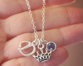 Personalized Princess Necklace, Personalized Crown Necklace, Initial Birthstone Princess Necklace, Letter Birthstone, Queen, Initial, Custom