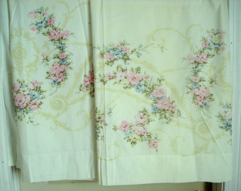 Vintage Shabby Sheets Twin Size Flat Pair Cottage Chic Pink Rose Vintage Bed Sheets Percale Utica