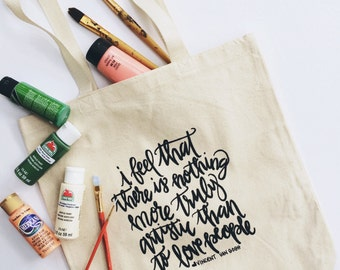 Van Gogh Love People Hand-lettered Tote (Heavy Duty) | Tote Bag. Canvas Tote Bag. Beach Tote. Hand Lettering.