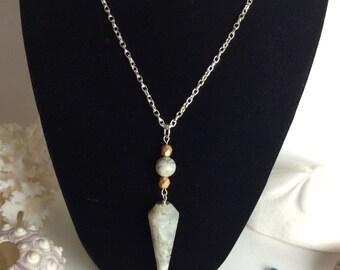 Rainbow Moonstone pendulum necklace
