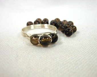 Smoky Quartz .925 Sterling Silver Wire Wrapped Ring