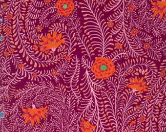 FERNS CHERRY GP147 by Kaffe Fassett  Sold in 1/2 yd increments