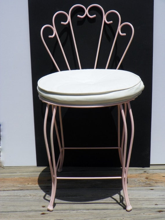pink wrought iron vanity chair make up chair with padded seat