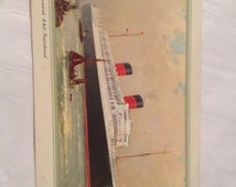 Vintage Cunard Line R M S Mauretania Abstract of Log Card NY-Southampton 7/17-23 1953
