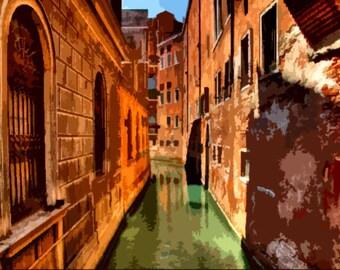 "Needlepoint canvas "" Venice Street"" (SC047)"