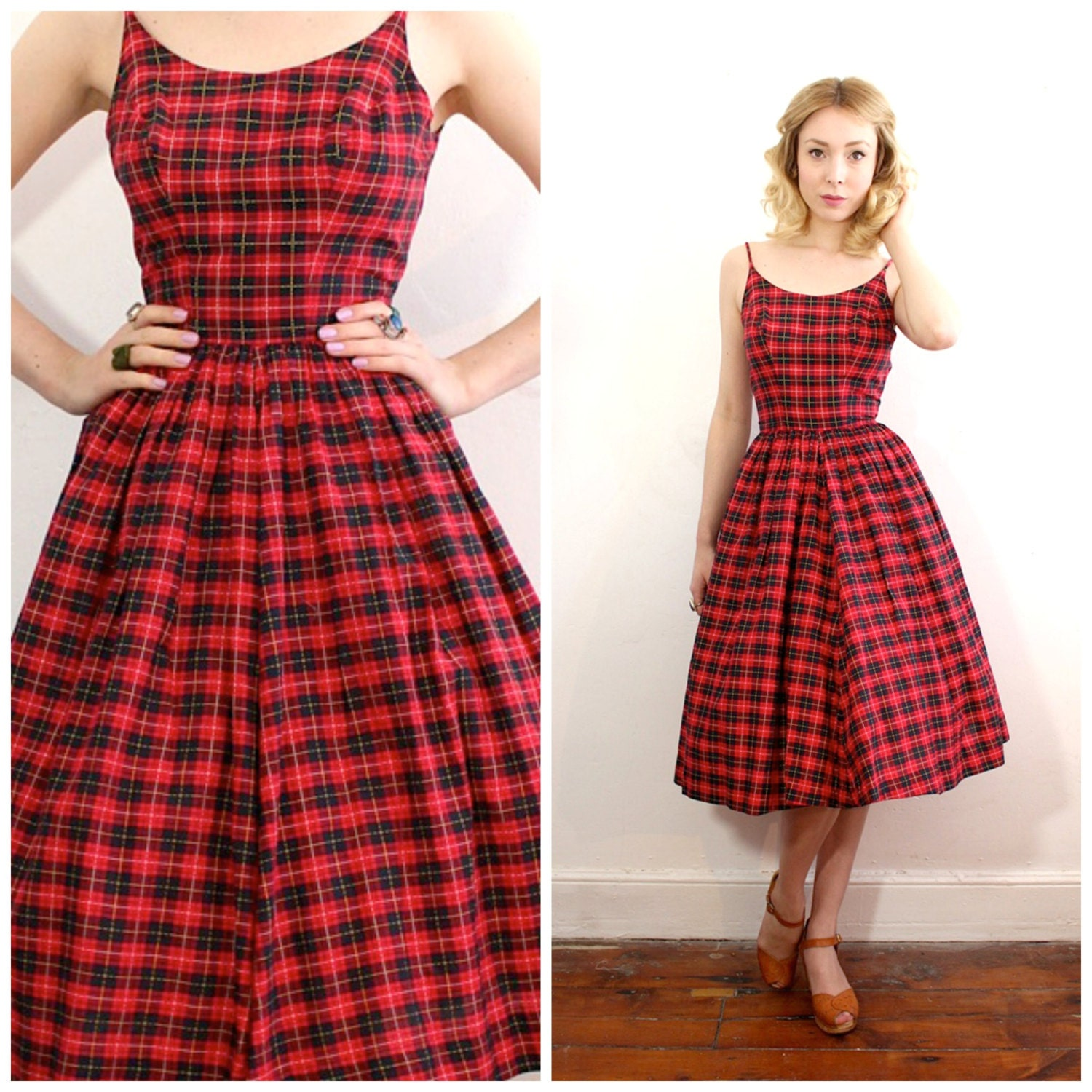 1950s Red Plaid Spaghetti Strap Sun Dress Scoop Neck Pin Up
