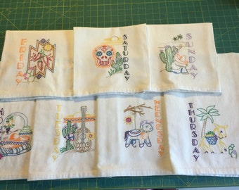 Machine Embroidered Flour Sack Dish Towel Set (7 Towels)