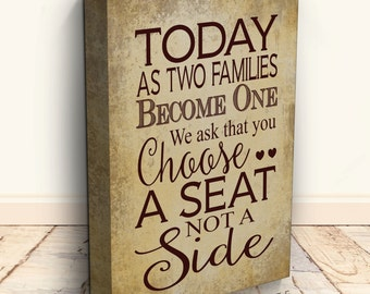 Wedding Sign - Pick A Seat Not A Side - Wedding Decor - Rustic Wedding Sign - Wedding Signs - Seating Plan - Table Plan - Wedding Table Plan