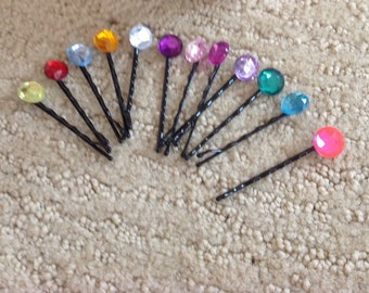 Rhinestone Bobby Pins, Set of 12