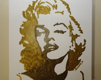 Marilyn Monroe (12x12) Pop Art, Metallic Gold & Bronze, Home Decor Art